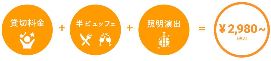 貸切料金+半ビュッフェ+照明演出=2980円